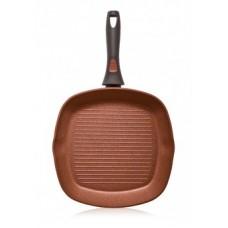 Сковорода-гриль с антипригарным покрытием цвет Терракотовый, 28см