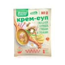 Крем-суп № 2 «Овощной с курицей, грибами и гренками» BIOSEA
